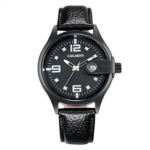 Schöne Uhren, CAGARNY 6873 Living Waterproof Round Dial Quarzbewegungs-Legierungs-Kasten-Art- und Weiseuhr-Quarz-Uhren mit Lederband ( Farbe : Schwarz )