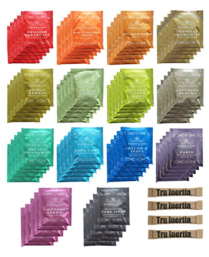Harney & Sons Assorted Tea Bag Sampler 70 Count With Tru Inertia Sugar Packets Great for Birthday, Hostess and Co-worker Gifts