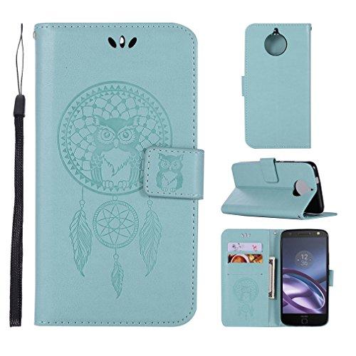 LMAZWUFULM Hülle für Motorola Moto E4 Plus (5,5 Zoll) PU Leder Magnetverschluss Brieftasche Lederhülle Eule & Traumfänger Muster Standfunktion Ledertasche Flip Cover für Motorola E4 Plus Grün