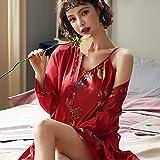 MTCDBD Kimono Mujer Bata Señoras, 2 Sexy Red Robe Set Pijamas De Satén, Soft Cosy Loungewear Y Nightwear Albornoz, Amigos, Familiares Y Amantes,M