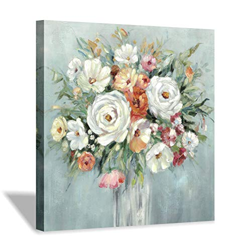 Abstract Floral Wall Art Painting: Blooming Flower Artwork Canvas Picture for Living Room