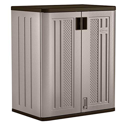 Suncast BMC3600 9 Cu Ft Heavy Duty Resin Garage Base Storage Cabinet Platinum 2 Pack