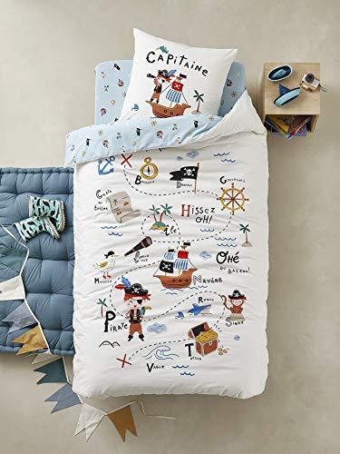 Vertbaudet - Juego de funda de edredón y funda de almohada para niños (140 x 200 cm), diseño de pirata
