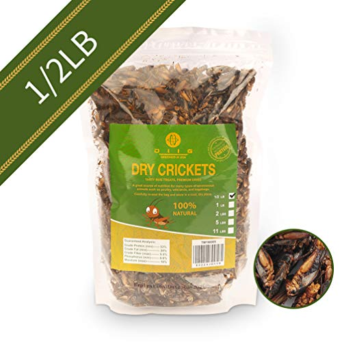 diig Dried Crickets - Treats for Bearded Dragon Birds Chickens Hedgehog Hamster Fish Reptile Turtles, 8 oc