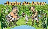 Fanshop Lünen Fahne - Flagge - Angler des Jahres - Fische - Fisch - Angeln - Hut - Schuh - See - 90x150 cm - Hissfahne mit Ösen -