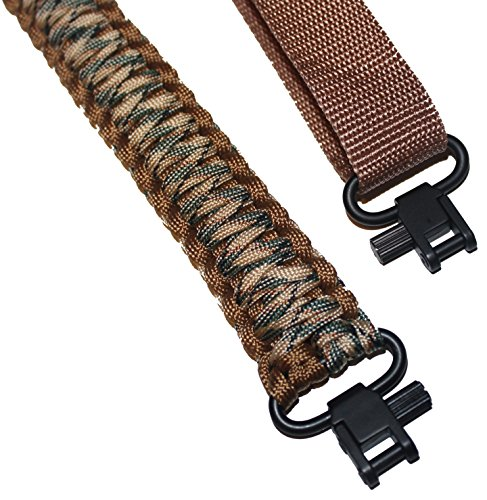 Estobi Outfitters Gun Sling for Rifle Shotgun or Crossbow - Extra Strong 550 Paracord - 2 Point Adjustable Strap with Metal Swivels, Desert Brown Camo
