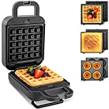 🥪【3-IN-1 SANDWICH & WAFFLE MAKER】It comes with 3-sets of removable plates (5.2 x 4.7inches), one waffle plate, one sandwich plate, and one donut plate, perfect for making individual servings, waffles, breakfast sandwiches, donuts, burgers, paninis, e...