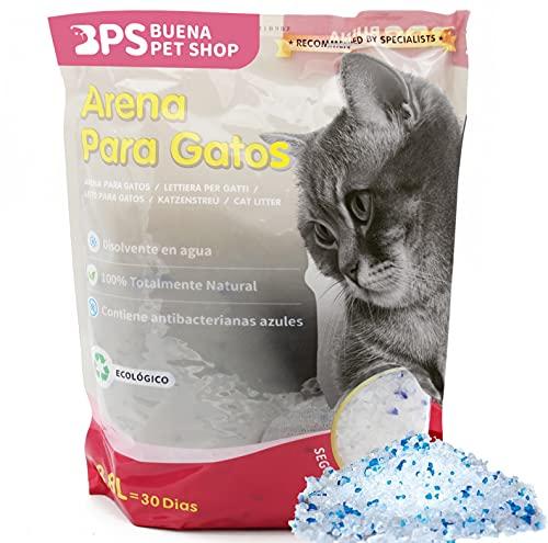 BPS 3.8 L Arena de Sílice para Gatos Arena Blanco Fresco Mascotas Cat Litter 4 Tamaños 3.8L/7.6L/15.2L/30.4L para Elegir (3.8 L) BPS-3200