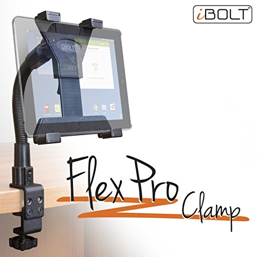 """iBOLT TabDock Flexpro Clamp- Heavy Duty C-Clamp Mount for All 7"""" - 10"""" Tablets (iPad, Nexus, Samsung Galaxy Tab) for Desks, Tables, Wheelchairs, etc : Great for Homes, Schools, Offices, Hospitals"""