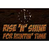 iCandy Combat Rise 'N' Shine for Huntin' Time Quote Clock Picture Wood Design Hunting Sign