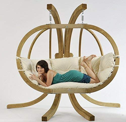 AMAZONAS Mehrpersonen Hängesessel in edlem Design Globo Royal Chair Natura bis 200 kg in Weiß - 3