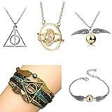 YASUI 5 Stück Halskette für HP Fans Geschenk ,Zeitumkehrer Kette Hermine Anhänger Halskette Armband schmuck Set Jungen,Tochter,mädchen,Frauen (5pc)