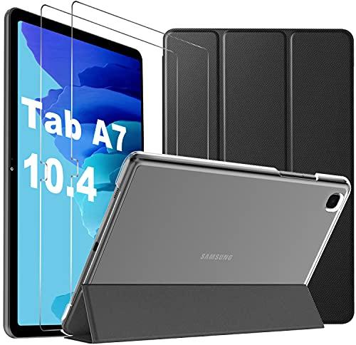 Mutoy para Samsung Galaxy Tab A7 + para Samsung Galaxy Tab A7 Vidrio Templado [2 Piezas], Funda con Vidrio Templado para Samsung Tab A7 10.4 2020, Funda para Samsung Galaxy Tab A7, Negro