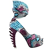 SHOW STORY Retro Purple Blue Snake Skin Print Ankle Strap Peeptoe Cut-Out High Heel Platform Pumps,LF80686AZ39,8US,Purple