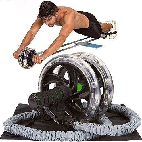 Pangpang Ab Roller Mit Widerstandsbändern Und Rutschfester Matte , Trainingsgeräte Für Das Kerntraining, Ab Workout-Geräte Für Bauchübungen , Für Anfänger Und Fortgeschrittene