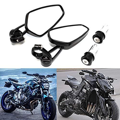 JMTBNO Espejos retrovisores laterales para manillar de motocicleta 7/8', 22 mm, modelo universal de aluminio para Cafe Racer CB1000R CB400 CB500F MT07 MT09 MT03 MT10 Z900 Z750 Z650 (Negro)