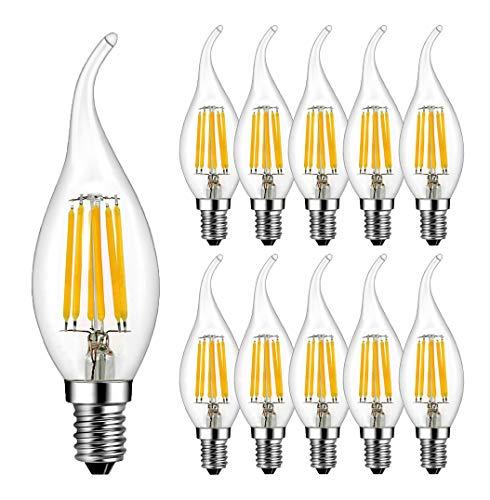 RANBOO Lampadina LED Candela Fiamma E14 6W Equivalenti a 60W Bianco Caldo 2700K 600LM Forma a Candela C35 Non Dimmerabile Vetro 10-Pack
