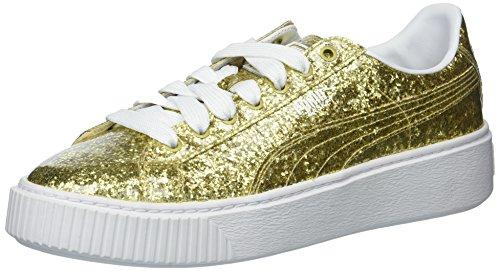 PUMA Women's Basket Platform Glitter Wn, Gold-Gold, 8 M US