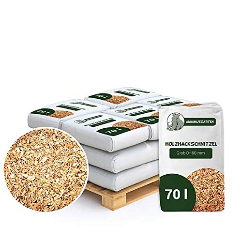 MammutGarten Holzhackschnitzel Natur Kiefer Holz Mulch Garten Grob 0-60mm 70l Sack x 12 STK (840 L)