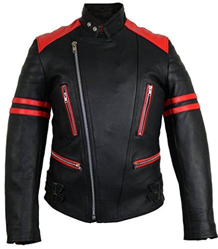 MDM Retro Oldschool Lederjacke, schwarz-rot Motorradjacke (XL)