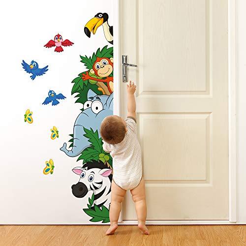 R00005 Pegatina Vinilo Pared Suave Efecto Tejido Decoración Niño Bebé Habitación Infantil Guardería Papel Pintado Autoadhesivo Selva Jungla