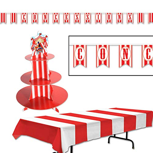 """Beistle Big Top Circus Party Decorations Kit with Striped Tablecover, Circus Tent Cupcake Stand, and """"Concessions"""" Banner - Perfect for a Birthday Party or Community Celebration"""