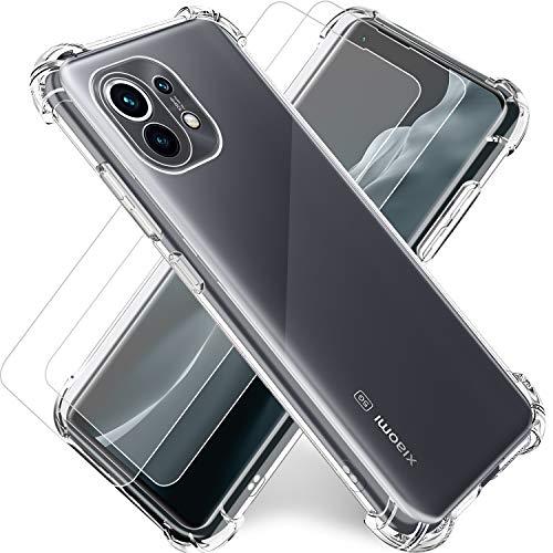 "Funda para Xiaomi MI 11 5G Transparente,Carcasa MI 11 6.81""+2Pack Cristal Templado y Protector de Pantalla,Silicona TPU Airbag Anti-Choque Ultra-Delgado Case"