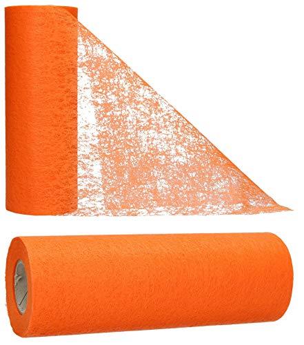 AmaCasa - Corridore da tavolo in tessuto non tessuto arancione, ideale per fiori, matrimoni e comunioni, 15cm/20m (Arancione, 15cm)