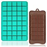 FineGood - Moldes de silicona para chocolate, 40 cavidades cuadradas, bandeja...