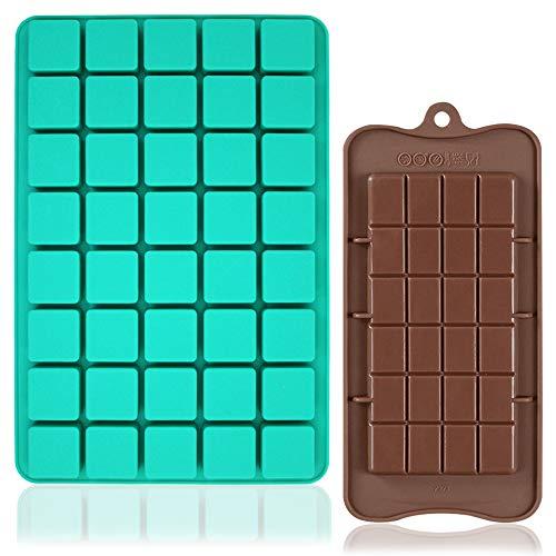 FineGood Lot de 2 moules à chocolat en silicone avec 40 cavités carrées et brownie pour desserts maison, gélatineux, bombes grasses