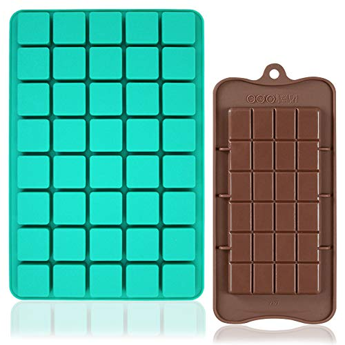 FineGood Schokoladenformen für Süßigkeiten, Silikonformen, 40 Mulden, quadratisches Backblech mit Brownie-Schokoladenherstellung für hausgemachte Desserts, Gummibärchen, Fettbomben, 2 Stück
