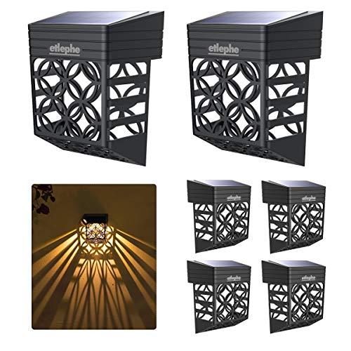 Etlephe Luz Solar Exterior, 6 Unidades LED Iluminacion Exterior Solar Impermeable con Sensor de Luz Tenue Encendido/Apagadp Automático para Jardin, Patio