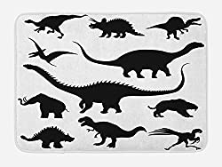 4. Ambesonne Black Dino Silhouettes Dinosaur Bath Mat