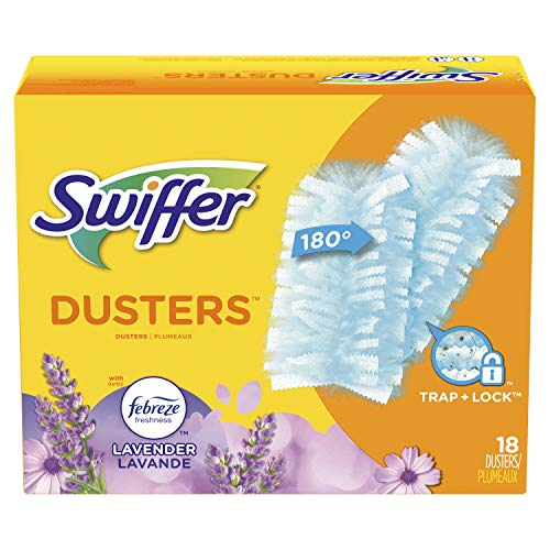 Swiffer 180 Dusters, Ceiling Fan Duster, Multi Surface Refills with Febreze Lavender, 18 Count
