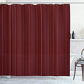 Ambesonne Maroon Shower Curtain Classical Striped Display with Thin Lines Modern Fashion Repetitive Abstract Pattern Cloth Fabric Bathroom Decor Set with Hooks 70  Long Maroon
