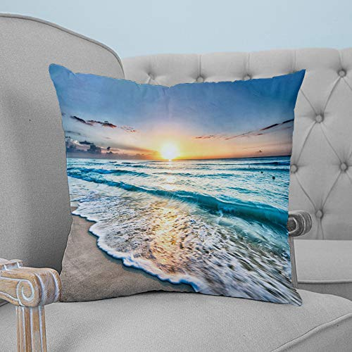 Roses Garden Throw Pillow Cover Sand Ocean Beach Wave Sea Hawaiian Sunrise Pillow Case Square Cushion Cover Super Soft Brushed Fabric Room Decor Pillowcase for Home Couch Sofa Bed, 16' x 16'