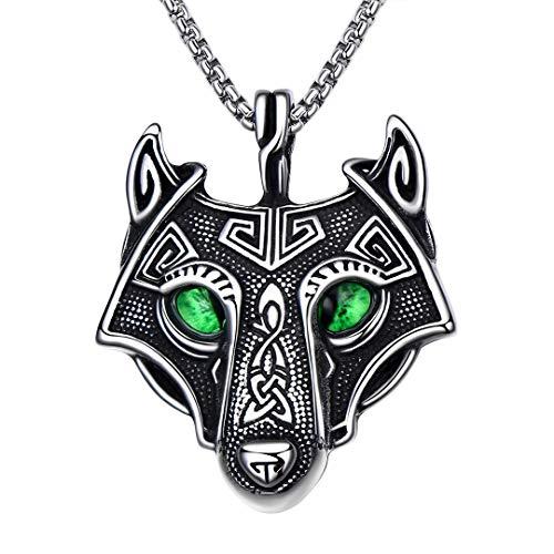 BBBGEM Titanium Steel Viking Fenrir Celtic Wolf Head Amulet Pendant Chain Necklace Nordic Viking Jewelry Wolf Jewelry Gifts Scandinavian Jewelry