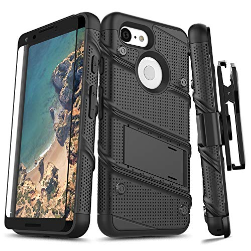 ZIZO Bolt Series Google Pixel 3 Case Military Grade Drop Tested with Full Glass Screen Protector Holster and Kickstand Black Black
