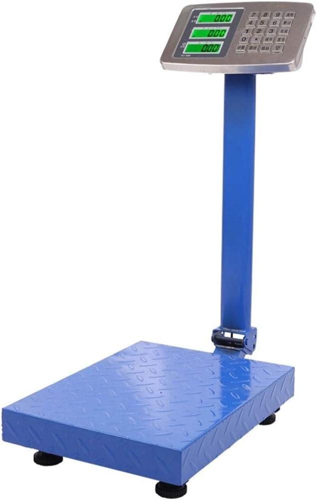 WCX Balanza industrial de plataforma Balanza Digital Reforzada 300Kg Plegable para Paquete Envíos Postal - Balanza Industrial Comercial Profesional (color : Azul, Tamaño : 300kg)