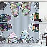 Moderner Duschvorhang Teen Rubber Rebell Rocker Schuhe in Street Squad Freunde Gang Abstraktes Bild...