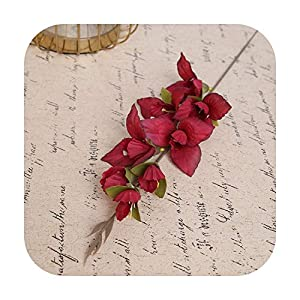 Silk Flower Arrangements HaHapo New Wholesale Artificial Flower Gladiolus Orchid Silk Single Flowers Branch Wedding Home Hotel Decor DIY Flower Materials 5Color-Red-