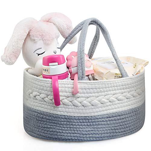 LEADSTAR Organizador de Pañales para Bebé, Cesta de Almacenamiento de Pañales con 3 Compartimentos Extraíbles, Organizador de Pañales Multifuncional para Recién Nacido Niños Pañales