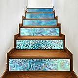 JIUCHUAN 6 Pcs Modern Art Stair Stickers,Ornamental Filigree Pattern Metallic Vivid Color Vinyl Home Decor Decals,DIY Stairs Self Adhesive Decoration Wall Sticker,7x39inch