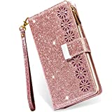 Kudex iPhone 12 Case,iPhone 12 Pro Case Wallet with Card Holder,Glitter Sparkly Bling Flip Leather Zipper Pocket Magnetic Case with 9 Card Slot Kickstand Strap for iPhone 12/12 Pro 6.1 Inch(Rose Gold)