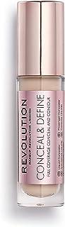 Makeup Revolution Conceal and Define Full Coverage Concealer Light Skin Tones with a Pink Undertone C4, Under Eye Conceale...