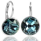 NOBEL SCHMUCK Silber Ohrringe Dunkelblau mit Kristallen von Swarovski® 925 Silber