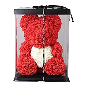 Silk Flower Arrangements Valentines Day Gifts Rose Teddy Bear, Hand Made Lace Rose Bear LED Rose Flower Bear Gift with Clear Gift Box for Girlfriend, Wife, Mothers Day, Birthday, Anniversary & Wedding (Red, 16 Inch)