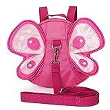 Zicac Mochila 2en 1con enlace Laisse anti pérdida 3d alas de mariposa para infantil para bebé, niño cuna marca Promenade salida con portero rosa