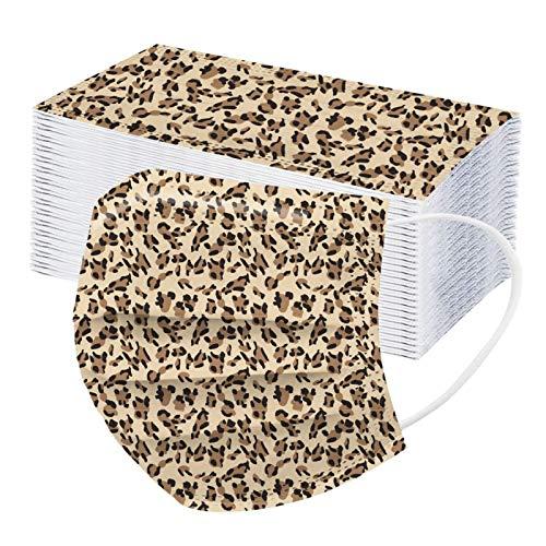 GULASISI Erwachsene Leopard Gedruckt Masken, Einweg 3-lagig Mundschutz Mit Motive, Atmungsaktive Mund und Nasenschutz Bandana, Staubdicht Maske Halstuch Unisex