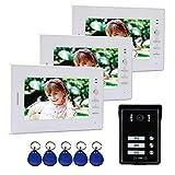 Nudito Kit Videoportero para 3 Viviendas. Telefonillo para Casas (3 Monitores TFT LCD a Color de 7', 1 Cámara Infrarroja Exterior e Impermeable con Visión Nocturna. Desbloqueo con Tarjetas RFID)